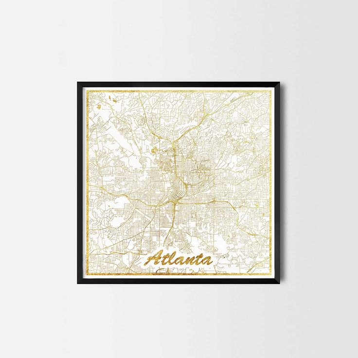 Atlanta map posters are high quality map art prints of a great city. Perfect for the house and office or as a gift for a friend. Interior gift travel gold