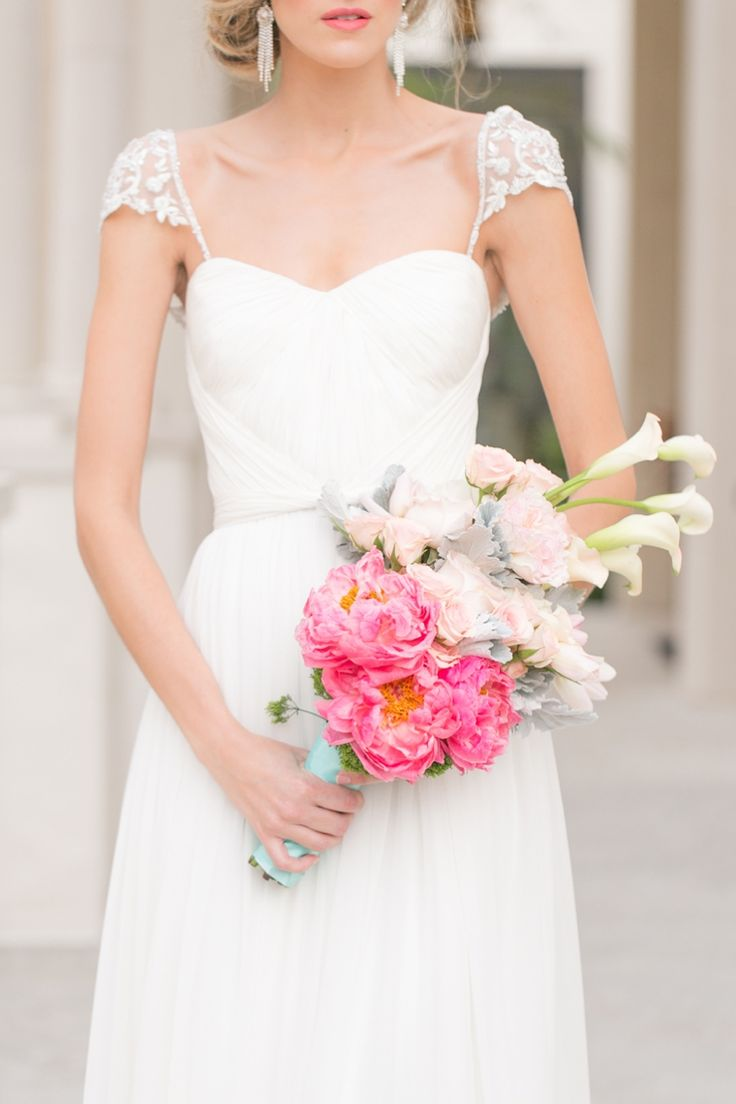 Unique pink bouquet // photo by http://amalieorrangephotography.com, floral design by Lee Forrest Design // see more: http://theeverylastdetail.com/modern-romantic-pink-and-aqua-wedding-ideas/