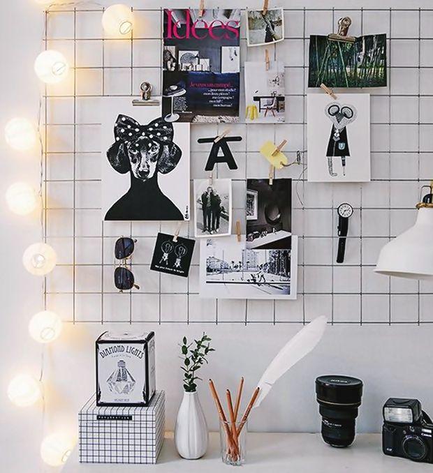mural de fotos com grade