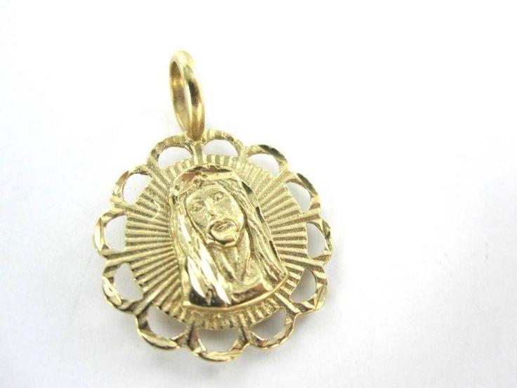 14kt Solid Yellow Gold Medallion Pendant Virgin Mary Jesus