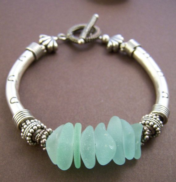 Mermaid Bracelet   Sea Glass with Sterling Silver Tube Bracelet