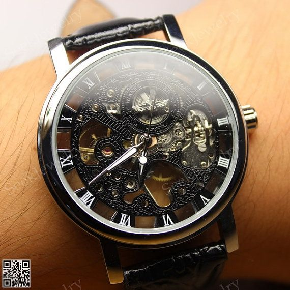 Mens Mechanical wristwatches Steampunk Watch Black & White Hollow Dial Steam punk Sport Watches op Etsy, 15,83 €