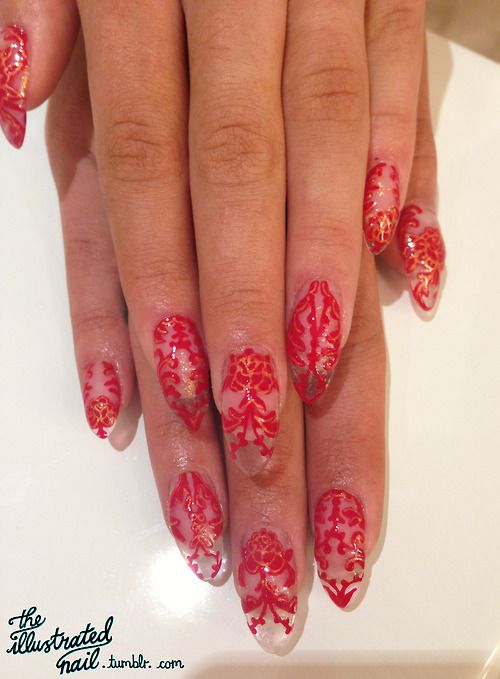 The Illustrated Nail - The cut-out lace nail design I created for Rita...