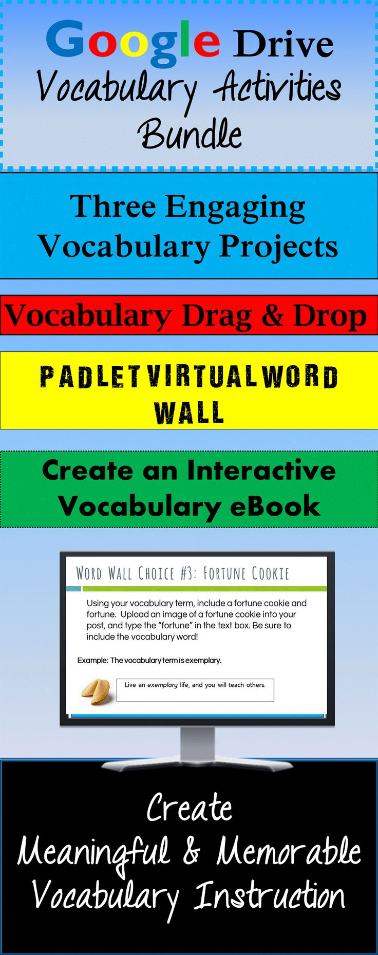 Create and innovate with Google Drive vocabulary activities!  This includes three engaging activities and projects to practice, learn, and create based on Marzano's Six Steps to Effective Vocabulary Instruction.  Make vocabulary words meaningful for your students with these high-interest activities formatted for Google Drive!