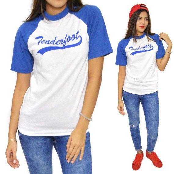 Vintage 80s Tenderfoot Baseball Raglan Tee T Shirt by Dopedoll