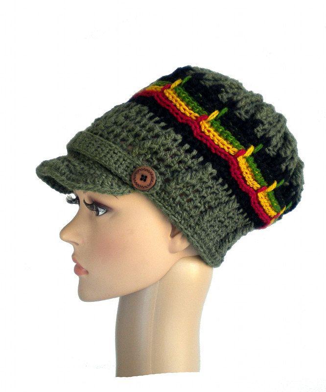 Rasta newsboy hat, chunky dreadlock rasta crown, camouflage brimmed hat, unique rastafari soldier cap by MultiKultiCrafts on Etsy