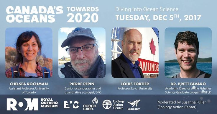 Four of Canada's leading marine scientists will be featured in the 'Diving into Ocean Science' panel at Canada's Oceans: Towards 2020 at the Royal Ontario Museum December 5th! Join us for an engaging conversation to help protect Canada's oceans for future generations. Visit http://ift.tt/2y9NF1X for tickets - link in bio  #canadasoceans2020