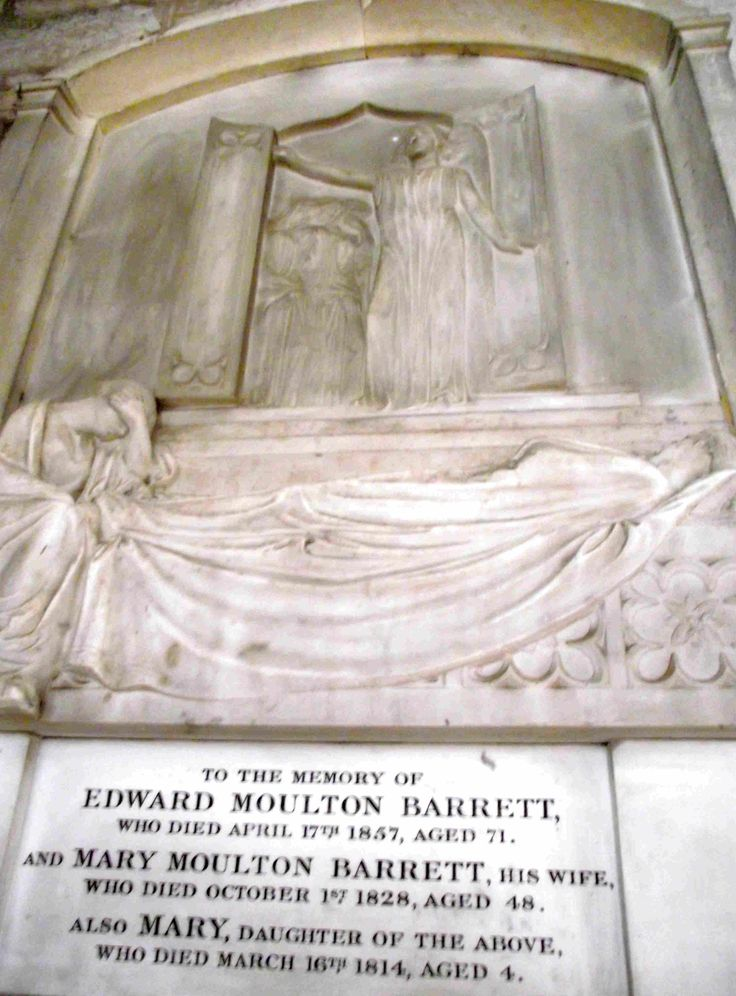 Elizabeth Barrett Browning's Mum and Dad are buried in Ledbury church. They loved Ledbury where Edward Moulton Barrett and his oldest daughter  Elizabeth used to attend the non conformist chapel up an alley off High Street - now the Burgage Hall (behind the Butcher Row House Museum). Their memorial in St Michael's Church shows an angel throwing open the door of the tomb onto countryside beyond.