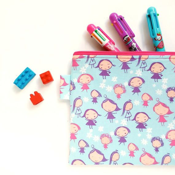 Blue Girl Pencil Case Kawaii Blue Stationery Case by OneBusySloth
