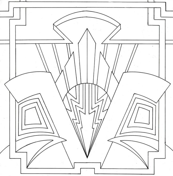 Art Deco Line Design : Art deco coloring page lovely stained glass pinterest