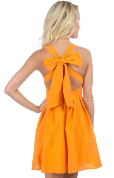 Orange - The Livingston Solid Seersucker Dress Back