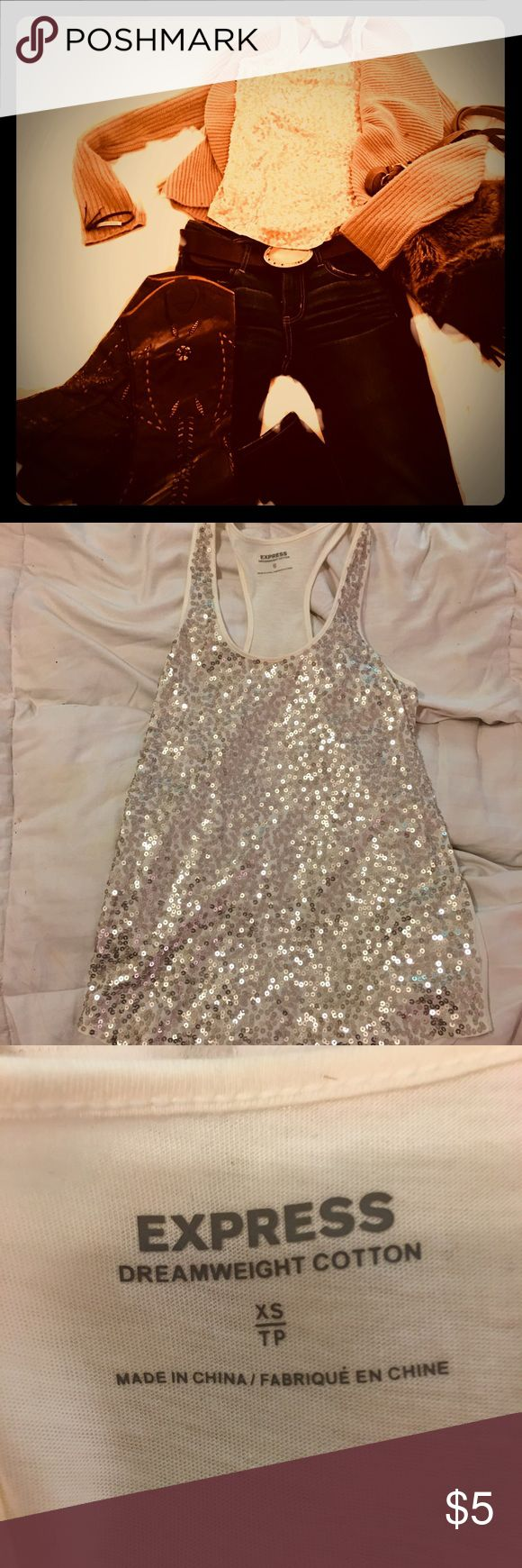 Express Gold Sequin tank top Cotton off white Gold sequin tank top Express Tops Tank Tops