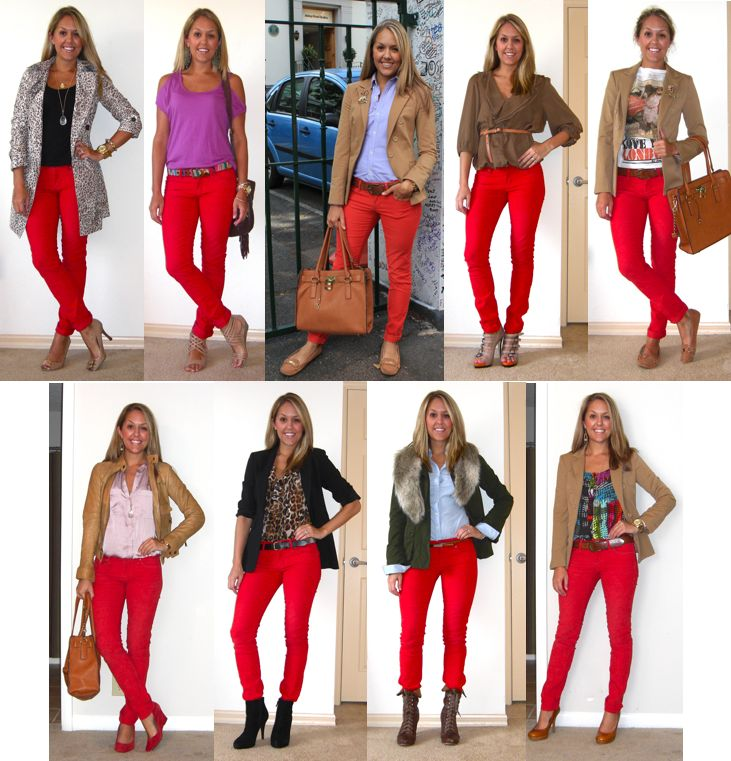 Just scored a pair of red jeans, so I needed some ideas and remembered this girl's very cool blog.