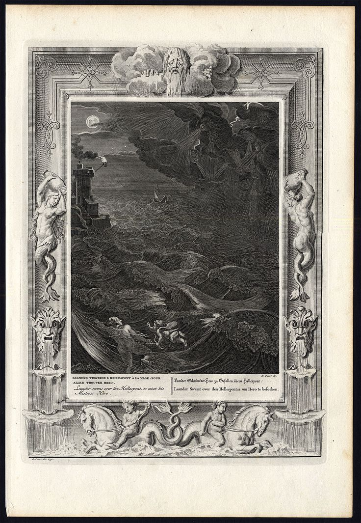 The Prints Collector :: Antique engraving of Hero and Leander by Bernard Picart (1733).