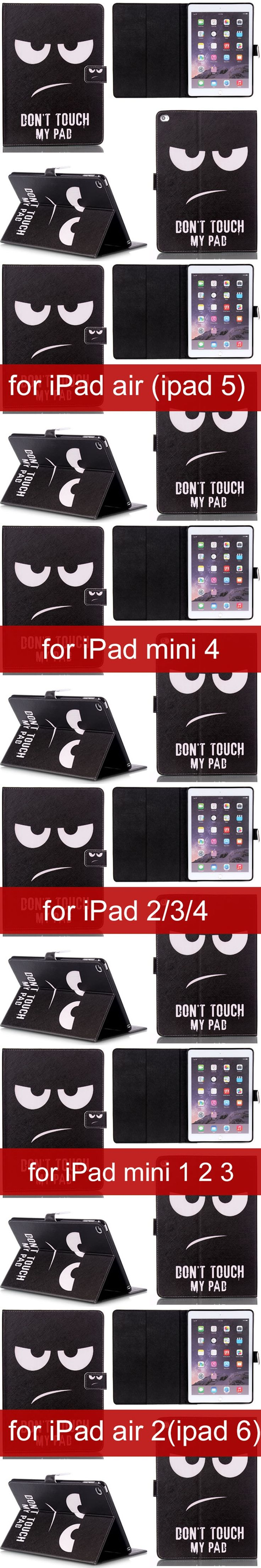 """Black PU Leather cover for Apple iPad air 2 for  iPad mini 1 2 3 4 for iPad 2 3 4 5 6 for iPad Pro 9.7 12.9"""" tablet Cases Y2A14D"""