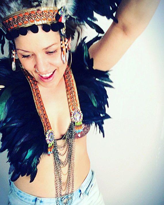 Pluma collar festival peto de cadena tribal festival pluma