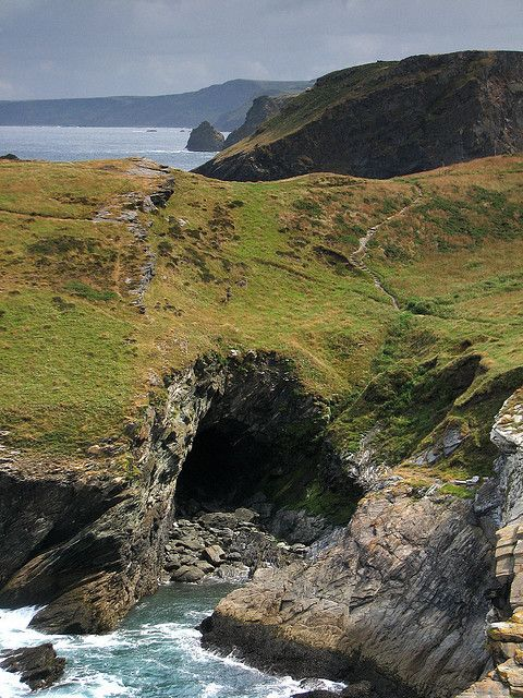 'Merlin's Cave', Tintagel, Cornwall, UK.