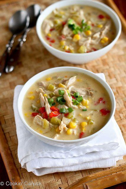 Light Turkey (or Chicken) & Corn Chowder Recipe   cookincanuck.com #lowfat #soup #leftovers by @Cookin' Canuck   Dara Michalski