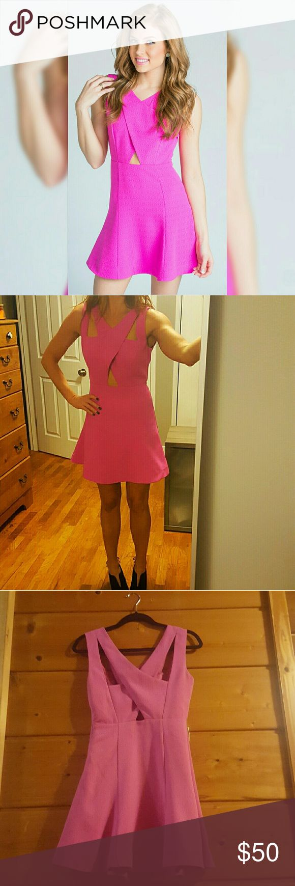 J.O.A. Cupid Fuschia Pink Dress Mini hot pink dress with front and back cutouts. Fully lined. Worn once. Perfect condition. j.o.a. Dresses Mini