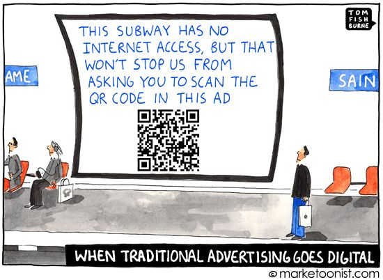 """""""When Traditional Advertising Goes Digital"""" - new cartoon and post on the adolescent stage of integrated media http://tomfishburne.com/2013/03/digital.html"""