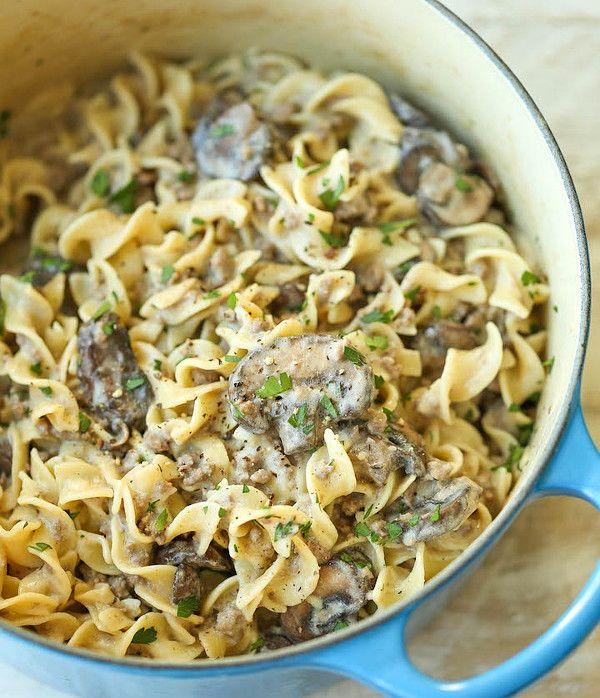 Сливочные макароны с грибами и фаршем 5