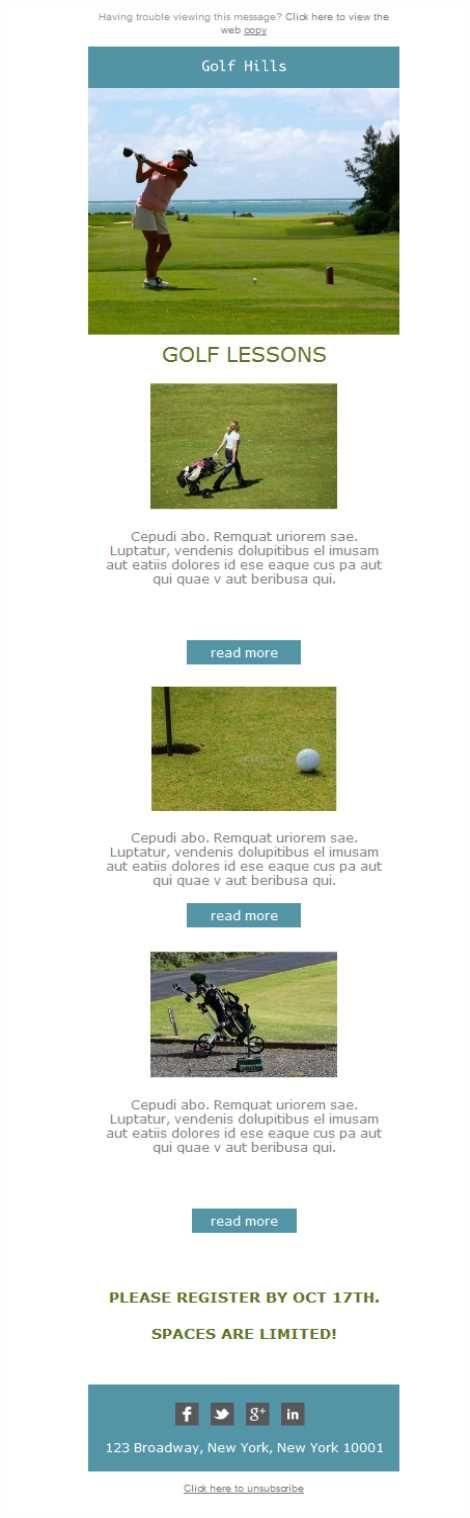 Versión responsive de plantillas newsletter para campos de golf. Hoy en día, abriendo tanto los emails con el smartphone como con la tablet, es imprescindible contar con el diseño adaptado para dispositivos tecnológicos. Tu campo de golf no será menos, ¡aprovéchalo!