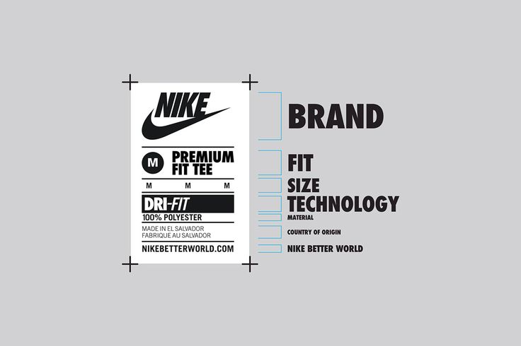 Global communication and neck label system for Nike apparel. The hierarchy of information was designed to be consistent across the brand, incorporate and unify all variations of size, fabric, technology and sub categories.