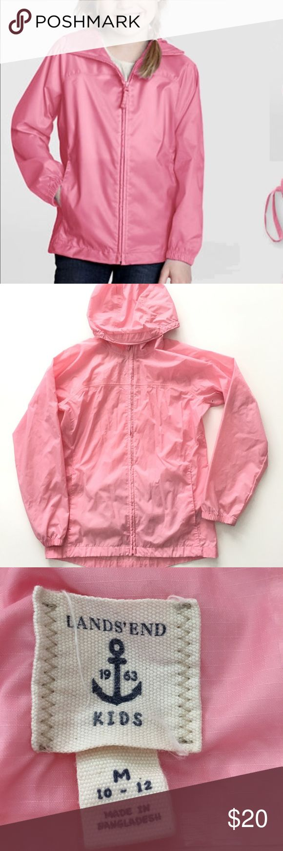 Lands End Girls Packable Navigator Raincoat Jacket Lands End Kids Packable Rain Coat Size Medium (10-12 ) Preowned;packable bag has name written on, please refer to pictures Hooded Raincoat Zip up Front Pockets Packable Lands' End Jackets & Coats Raincoats