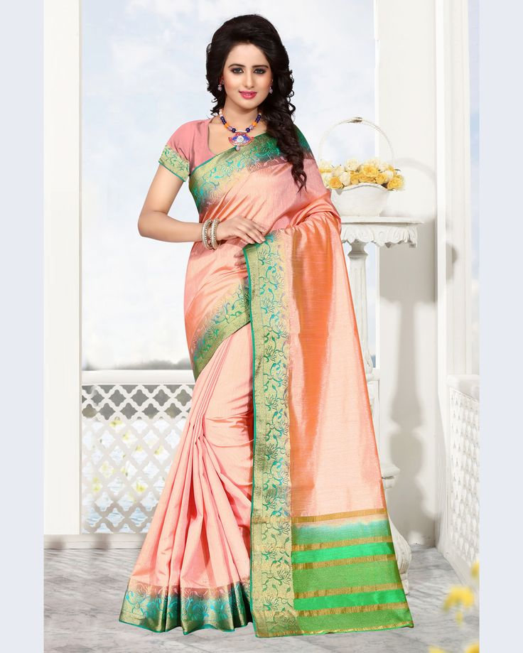 Peach Raw Silk Saree With Blouse 68209