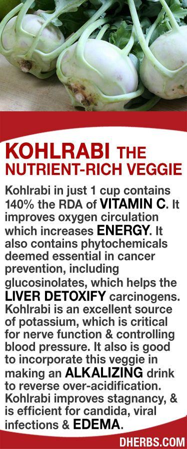 Kohlrabi in just 1 cup contains 140% the RDA of Vitamin C. It improves oxygen circulation  #energy. It contains phytochemicals deemed essential in cancer prevention, including glucosinolates, which helps the liver detoxify carcinogens. Kohlrabi is an excellent source of potassium, which is critical for nerve function  bp. Add this veggie in making an alkalizing drink to reverse over-acidification. Kohlrabi improves stagnancy,  is efficient for candida, viral infections  edema.