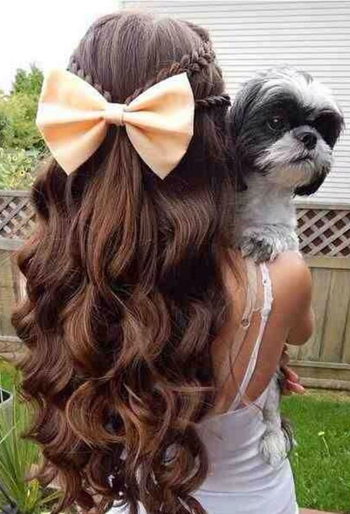 Big Bows Hairstyles With Watefall Effect