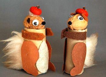 Great fall preschool craft about squirrels; I love the walnut heads!
