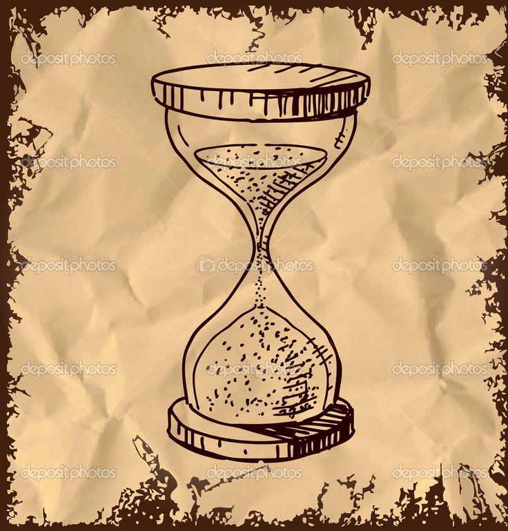 Reloj de arena de cristal, en una hoja arrugada. Dibujos animados. Hecho a mano.
