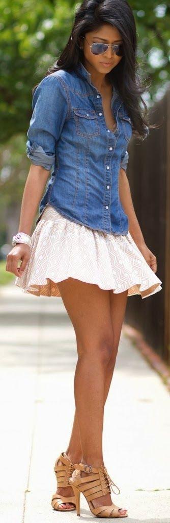 Shop this look on Lookastic:  https://lookastic.com/women/looks/denim-shirt-skater-skirt-heeled-sandals-sunglasses-bracelet/11982  — Black Sunglasses  — Blue Denim Shirt  — Beige Bracelet  — Tan Leather Heeled Sandals  — Beige Geometric Skater Skirt