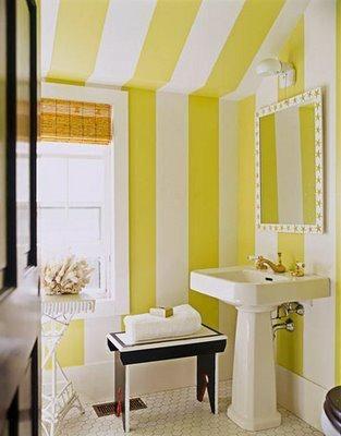 Love this - a lot!: Bathroom Design, Bathroom Interior, Yellow Stripes, Stripes Bathroom, Stripes Wall, Bold Stripes, Yellow Bathroom, Powder Rooms, Design Bathroom