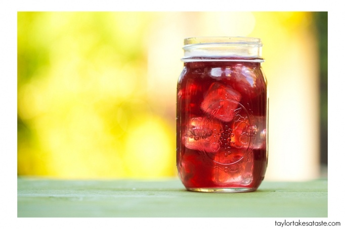 Iced blueberry green tea. ( I made this by the gallon last summer and I used every different kind of fruit and berry and even different kinds of tea. it's a very versatile recipe