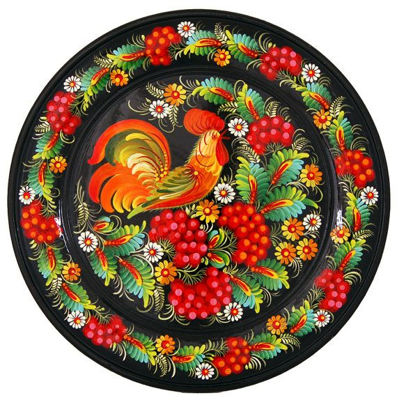 Hand-painted wooden dish Petrykivskiy painting by Dyvosweet
