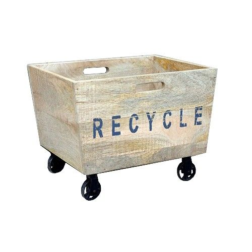 Industrial Recycle Basket on Cast Iron Wheels