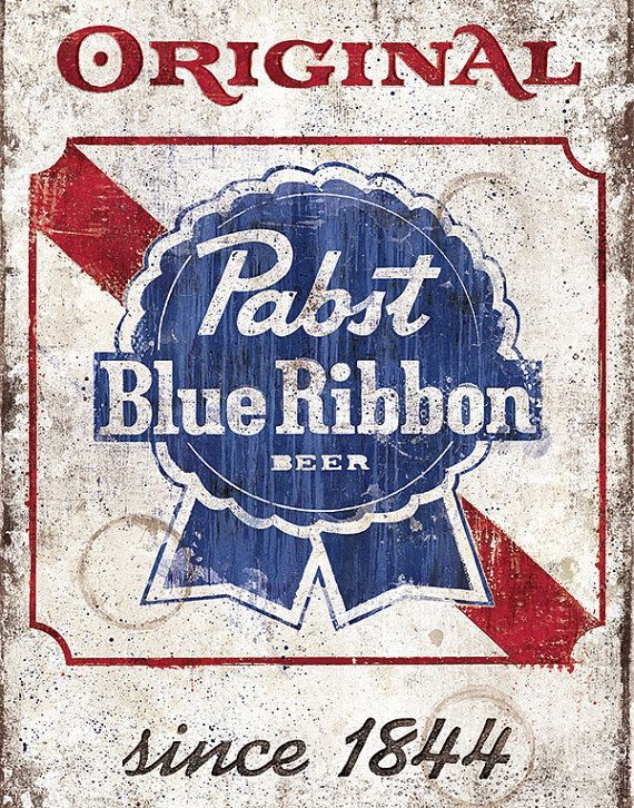 vintage signs of pabst beer | Pabst Blue Ribbon Vintage Sign - 12x18 High Quality Art Print