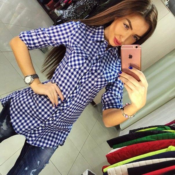 e39e910181a7a Larga regular da vuelta abajo a cuadros bolsillo camisa mujeres camiseta  para el verano 2016 nuevas mujeres ocasionales caliente venta en Blusa…