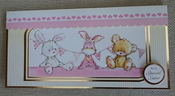 Handmade DL Greeting Card  Sister by BavsCrafts on Etsy