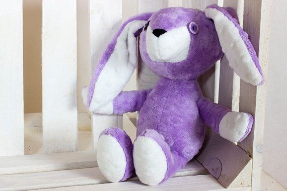 Plush Bunny Erni Violet  Nuva Handmade Stuffed Animal by NuvaArt