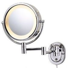 WALL MOUNT Magnifying MIRROR Lighted MAKEUP SHAVING Chrome New