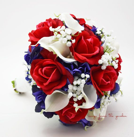 Red White & Blue Bridal Bouquet Roses by SongsFromTheGarden, $185.00