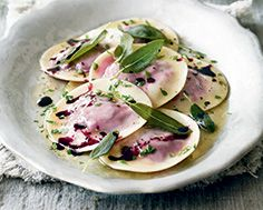 Beet & Ricotta Ravioli with Browned Butter & Fried Sage
