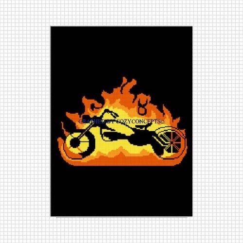 COZYCONCEPTS MOTORCYCLE FLAMES BLACK AFGHAN CROCHET PATTERN GRAPH | CozyConcepts - Patterns on ArtFire