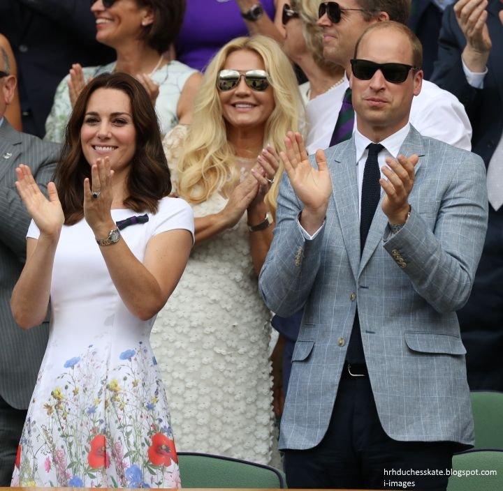 The Duke and Duchess of Cambridge congratulate Roger Federer on his 8th Men's Singles win at Wimbledon 2017