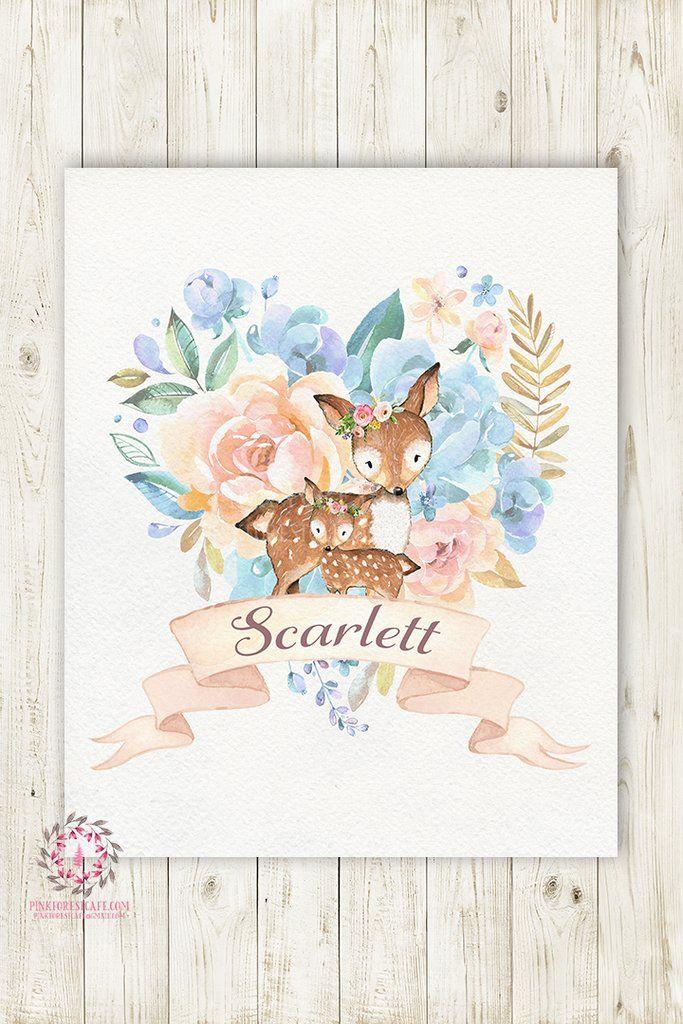 Deer Fawn Woodland Boho Wall Art Print Baby Girl Name