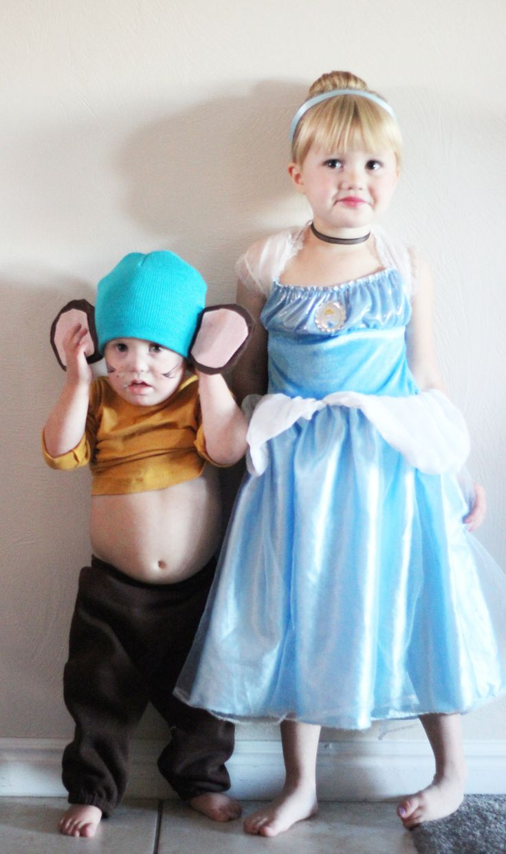 Cinderella and her mice.  What a cute brother sister Halloween costume.