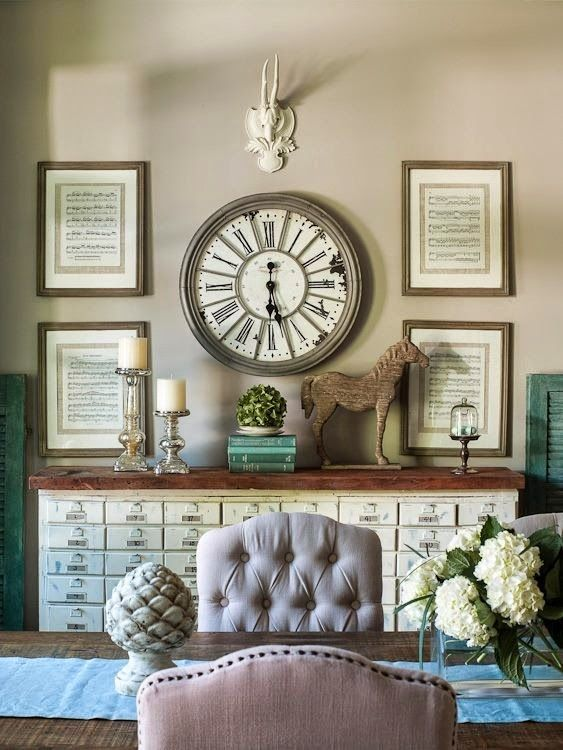 Like the idea of a wall clock surrounded by framed sheet music or  favorite hymns.